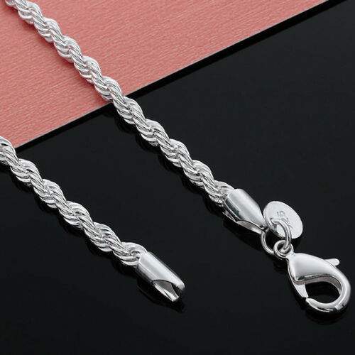 """Argent Sterling 925 3 mm Flash Twisted Chain Unisexe Chaînes Collier 16/"""" 30/"""" HX175"""