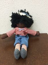 "Raggedy Anne Doll Plush African American Black Hair Rare Unique 14"" Vintage"