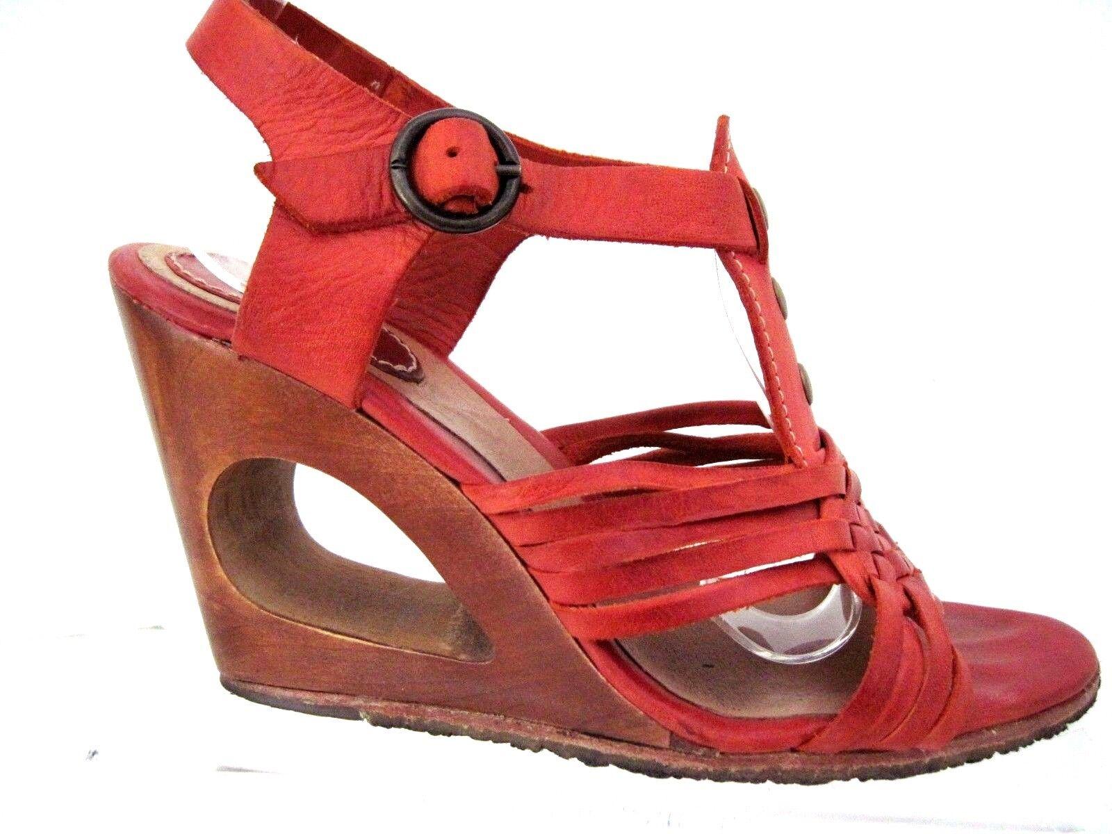 FRYE orange Leather Ankle Strap T Strap Open Toe Sandal Heels Size 6 B
