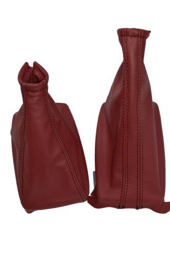 Rouge foncé en cuir fits vauxhall corsa c combo Barina XC Gaiter set black stitch