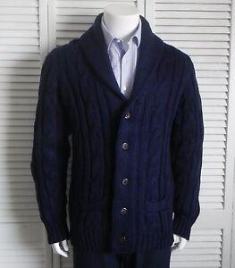 86d18f160b NEW Mens SIZE XL ALPACA Navy Blue Shawl Collar Knit Cable Cardigan ...