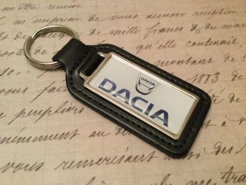 DACIA PRINTED BLACK LEATHER KEY RING FOB  OBLONG DUSTER STEPWAY SANDERO