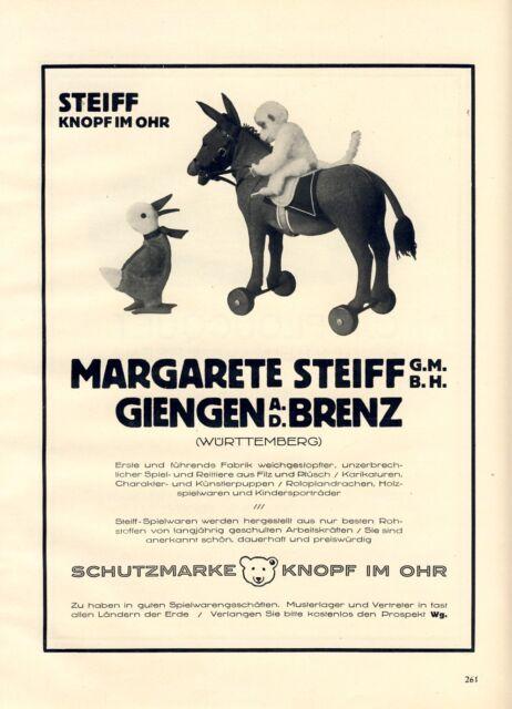 Margarete Steiff XL Reklame von 1926 Affe Ente Esel Knopf im Ohr ...