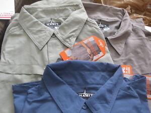 NWT Mens Ensign Blue Habit Kestrel Creek Button Front Short Sleeve Shirt Medium