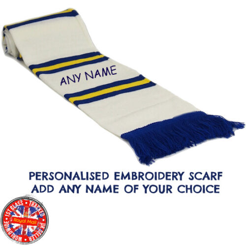 Leeds Personalised Embroidered Scarf Mens Ladies Kids 11 Colours Gift