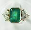 14K-Yellow-Gold-Over-2-45Ct-Emerald-Cut-Green-Emerald-Antique-Vintage-Ring thumbnail 2
