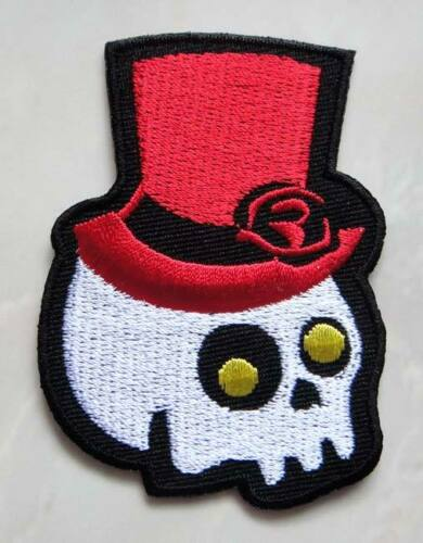 Cute White Skull with Red Top Hat Embroidered Iron on Patch Free Shipping