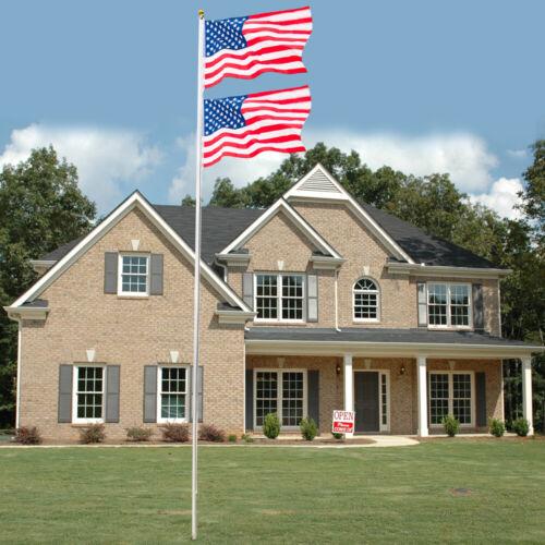25ft Solemn Outdoor Decoration Sectional Halyard Pole US America Flag Flagpole K