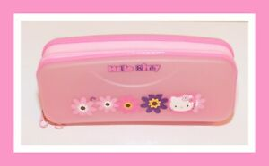 VTG-Hello-Kitty-Sanrio-2003-Pencil-Make-up-Case-Flower-Pink-Zip-7-5-x-3