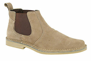 Mens Suede Desert Boots Pull on Slip