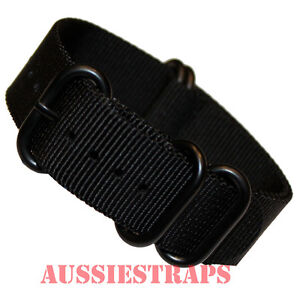 PREMIUM-ZULU-PVD-5-Ring-BLACK-20mm-22mm-24mm-Military-Diver-039-s-watch-strap-band
