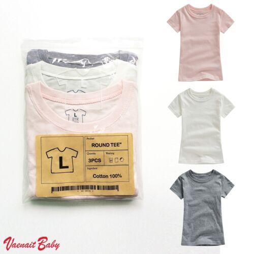 """VaenaitBaby 3Pack Toddler Kids Round Neck Summer T-Shirt /""""Basic Girl Tee/"""" 2-7T"""