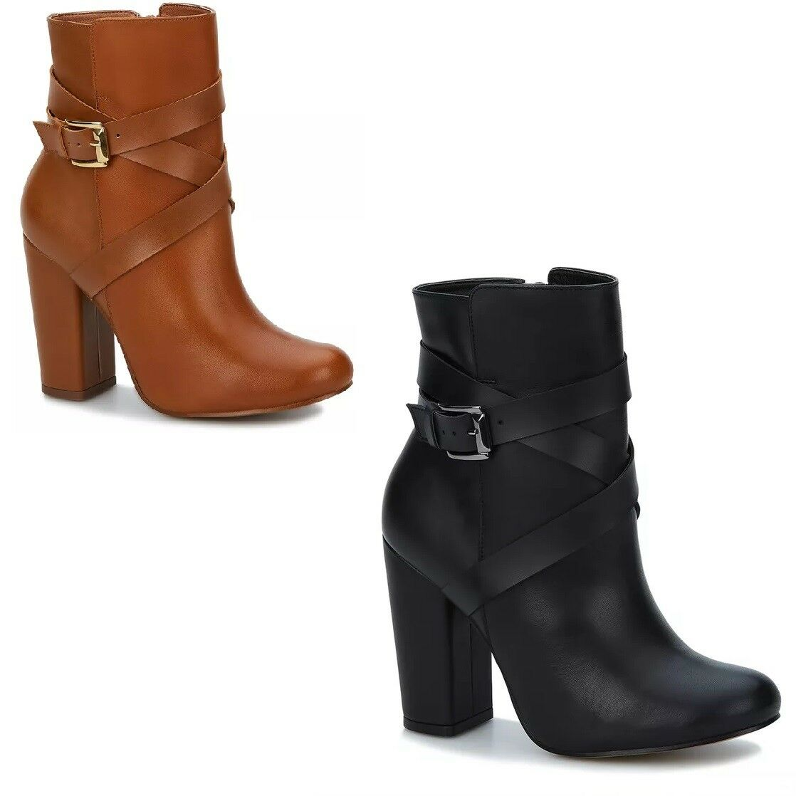 Brown or Black Leather Women Low Boot in a Modern Look and Zipper Closure