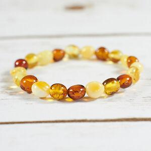 Genuine-Natural-Baltic-Amber-Bracelet-Brown-White-Beads-Adjustable-Rubber-String