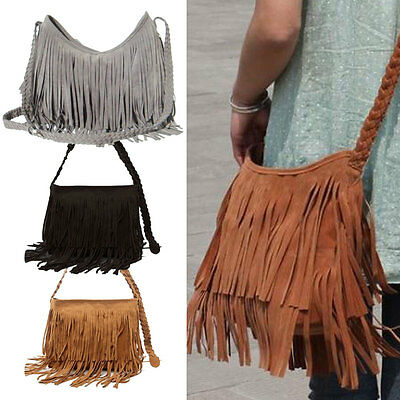 Fashion Women's Suede Weave Tassel Shoulder Bag Messenger Bag Fringe Handbags