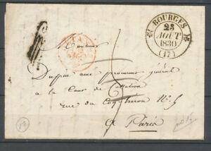 1830-Lettre-Taxee-de-Bourges-034-a-detaxer-034-cachet-rouge-Lys-hotel-des-postes-X3709