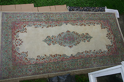 Palace Size Genuine Semi Antique Persian Kirman Rug 10x20 Kirman Carpet