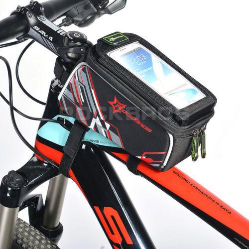 RockBros Cycling Bicycle Frame Bag Front Tube Bag 6.0/' Phone Holder Black Red
