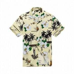 Men-Tropical-Hawaiian-Aloha-Shirt-Cruise-Luau-Beach-Party-Cream-Map-Leaf-Flower