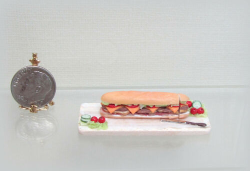 Dollhouse Miniature Handcrafted Submarine Sandwich Board by Lola