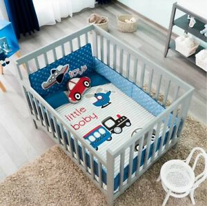 Details About Cars Truck Airplane Helicopter Baby Boys Crib Bedding Set 6 Pcs