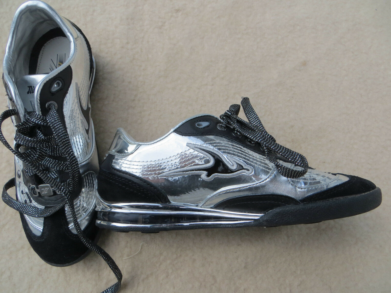 NE Nice England Sneaker Metallic Silber Schwarz Gr. 37 UK 4.0 Neu Ungetragen