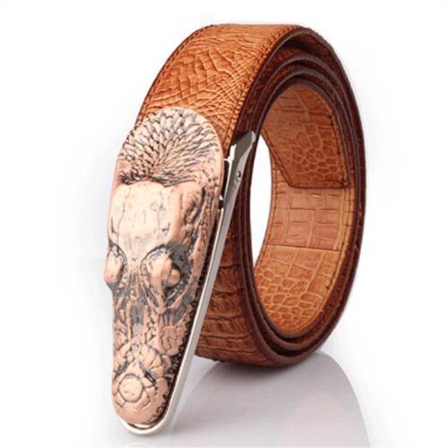 Cow Leather Belts Luxury Snake Head Shape Crocodile Imitation Hombre Men Fashion