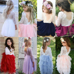 Canis-Summer-Kids-Baby-Girls-Lace-Tulle-Backless-Party-Bridesmaid-Pageant-Dress