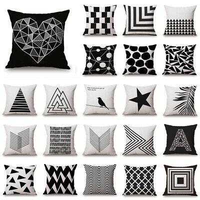 """18/"""" NOIR /& BLANC EN LIN Throw Pillow Case Sofa Cushion Cover Home Decor"""
