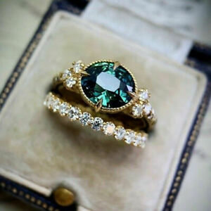 18K GOLD FILLED ANTIQUE DESIGN 2PCS EMERALD SAPPHIRE WITH ZIRCONIA RING SET O