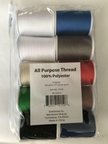 NEW LOT All Purpose Thread 10 Spools 150 Yard Per Spool 100/% Polyester red white