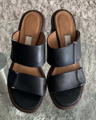 Miista London Black Leather Sandals Sz 36