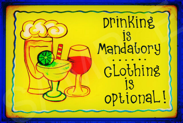*DRINKING MANDATORY*  METAL SIGN 8X12 CLOTHING OPTIONAL POOL TIKI BAR HAPPY HOUR