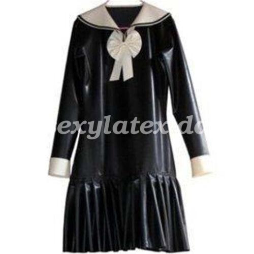 100/%Latex Rubber Women Skirt Fancy Ball Drees Cosplay School Uniform  XXS-XXL