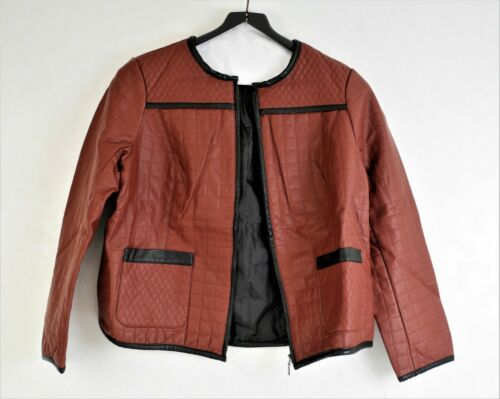 Joan Rivers Quilted Faux Leather Zip-up Jacket Color Brick//Black Size 14 NEW