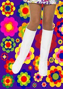 Details zu 524✪ 60er 70er Jahre Hippie GoGo Festival Stiefel Cover Überzieher weiß