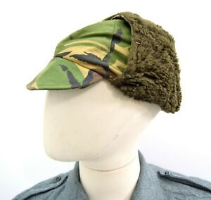 Dutch-Army-Cold-Weather-Hat-Winter-Trapper-Hat-Woodland-Camo-Military-Surplus