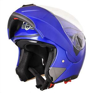 DOT Flip up Modular Full Face Motorcycle Helmet Dual Visor Race Motocross Blue M