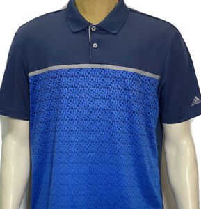 Adidas ClimaCool Golf Polo Men's Large Short Sleeve Blue Polyester Golf Shirt