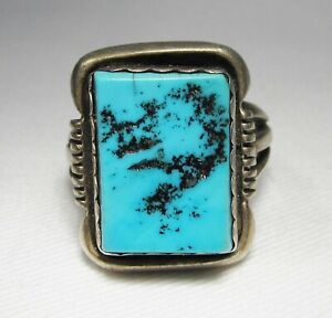 Turquoise Ring Large Vintage Turquoise Ring set in Sterling Silver