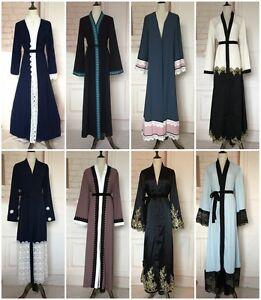 Dubia Style Open Front Abaya Kaftan Jilbab Muslim Islamic Cocktail Maxi Dress