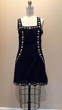 ANTHROPOLOGIE Cotton Black Dress White Floral Embroider Boho Sheath Resort Sz S