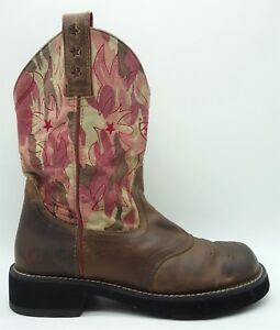 79f1a61bfe5 Ariat Brown Leather Pink Camo Western Cowboy Round Toe Roper Boots ...