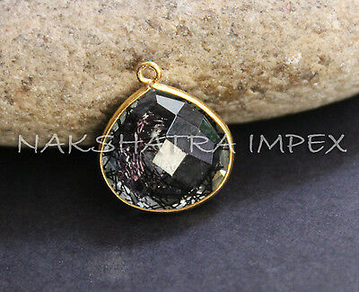 Black Rutilated Quartz 16mm Heart Briolette Vermeil Bezel Pendant