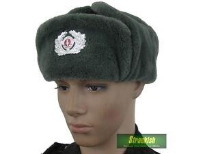 0f0a1e1da3b92 DDR EAST GERMAN ARMY FUR USHANKA HAT   BADGE (Size 55 or 56 ...