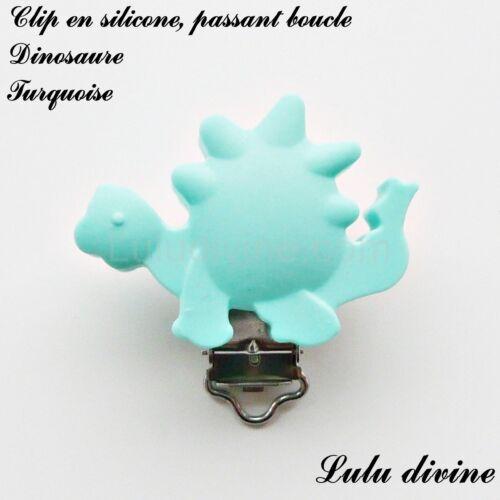 Pince // Clip en silicone attache tétine passant boucle Dinosaure : Turquoise