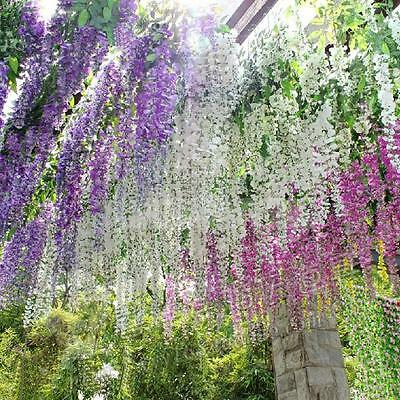 12x Artificial Silk Wisteria Fake Garden Hanging Flowers Vines Wedding Decor