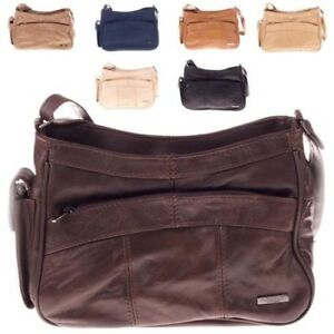 Ladies Womens Soft Genuine Leather Zipped Small Cross Body Shoulder ... 85465f7b7adf4