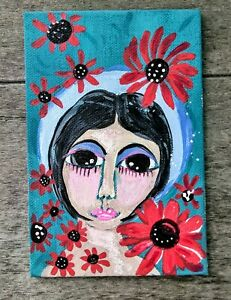 Girl and Red Flowers flat canvas  panel Naive Painting Folk Art Outsider Art 4x6