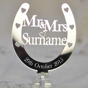 Wedding-Top-Table-Mr-amp-Mrs-Personalised-Decoration-Horseshoe-Centrepieces-Plaque